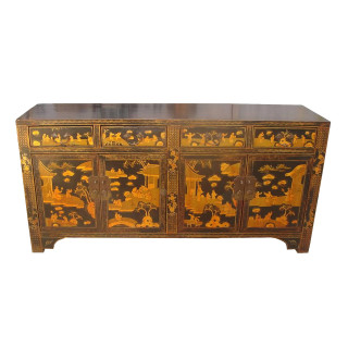 Antique Oriental Black Lacquer Buffet In Gold Landscape Painting.