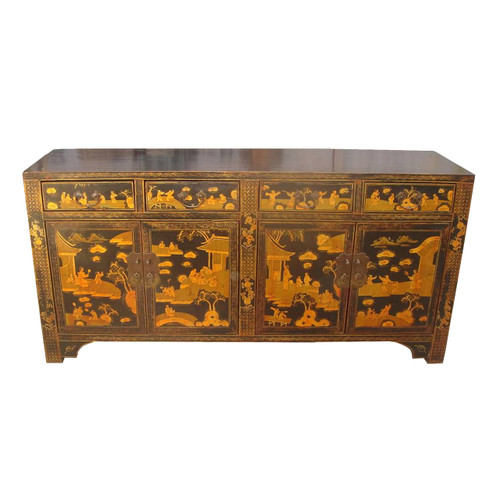 Buffet in oriental black lacquer with hand painted village for Hand painted oriental furniture