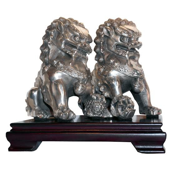 Asian Foo Dogs In Silver Casting 9 H For Office Decor Oriental Furnishings Furniture Amp Decor