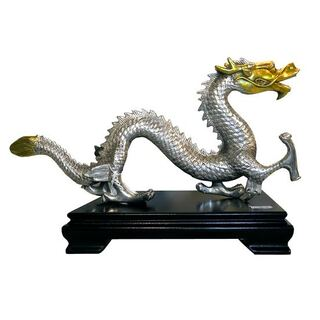 Silver and Gold Asian Bronze Dragon.