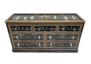 Oriental Black Lacquer Dresser with Seven Drawers, Glass Top and Mother of Pearl Inlays