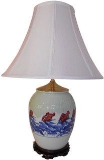 Modern Asian Porcelain table Lamp Hand Made with Fabric Shade