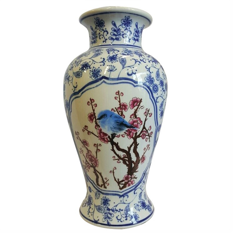 Wide Mouth Vase In Chinese Porcelain In Blue And White Daisy Chain