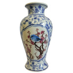Asian Blue and White Wide Mouth Porcelain Vase