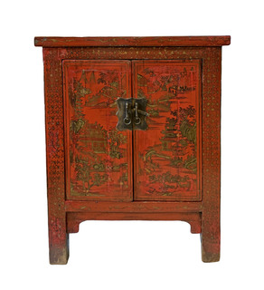 "33.5"" H Chinese Antique Shoe cabinet"