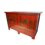 Asian Four Door Red Lacquer Buffet
