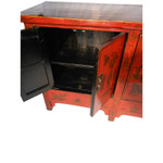 Oriental Four Door Red Lacquer Buffet