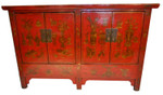 Chinese Four Door Red Lacquer Buffet