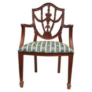 Hand Carved French Style Pila Arm Chair with Vanilla, Gold and Green Cushion.