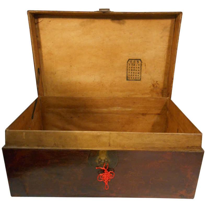 Antique Chinese Leather trunk - Antique Asian Hope Chest With Antique Red Leather 30'' W - Oriental