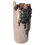 Asian carved ceramic vase