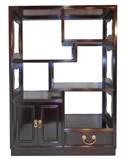 Asian Rosewood Step Curio Cabinet