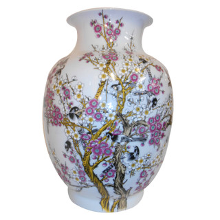 Cherry Blossom with Black Birds  Asian Vase with Chinesse Caligraphy