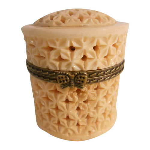 Carved cow bone rosette pillbox