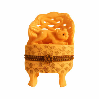 Asian Cow Bone Carved  Cat and Chair Snuff Box