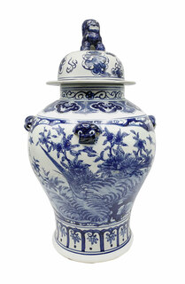 """Hand Made Blue and White 24"""" High Chinese Lion Lid Jar"""
