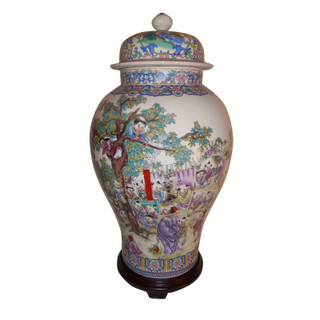 Oriental painted children jar