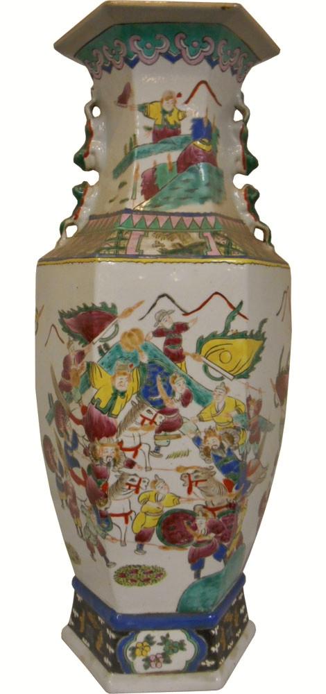Chinese Ming Porcelain Vase Reproduction 24 High Hexagonal Vase