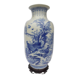 Buy Chinese Bird and Flower Blue and White Vase