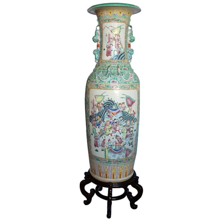 Large Chinese Vase 48 H Rosemedalion Glazed Porcelain Hand