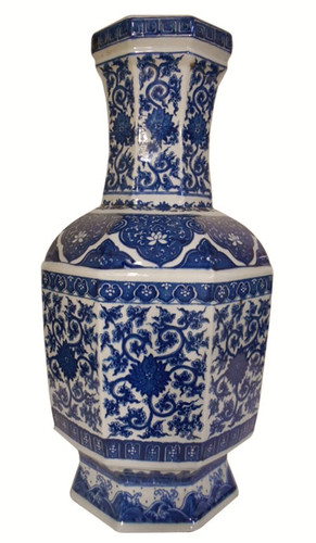 Chinese Blue and White Hexagonal Vase