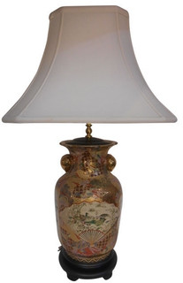 "30"" H. Satsuma Table Lamp With Gold Peach Handles"