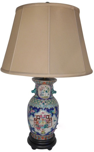 Table Lamp In Chinese Porcelain With Blue Glaze 27 5h