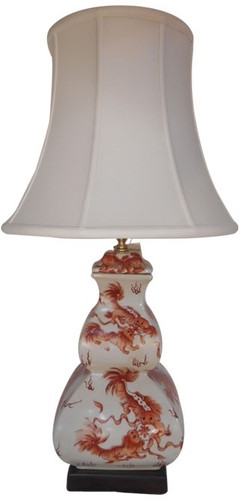 Lamp In Chinese Red And White Porcelain With Shade And