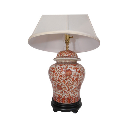 Red and White porcelain table lamp