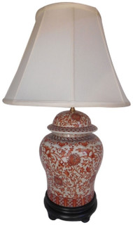 Red and White Porcelain Temple Lamp with Three Way Switch