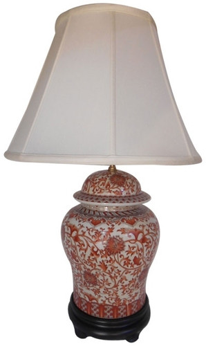 Oriental Table Lamp In Red And White Glaze Fabric Shade
