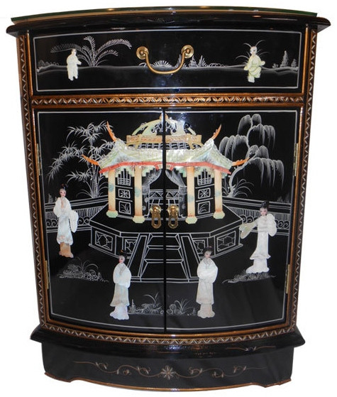 Oriental Shoe Cabinet Mother Of Pearl Inlaid Chest With