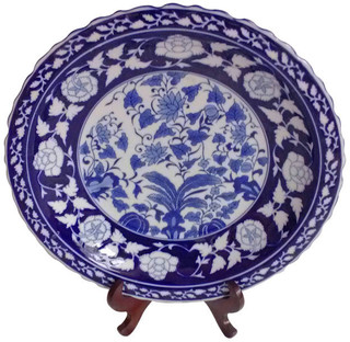 Blue and White Porcelain Plate with Fluted Edge