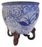 Blue and White Oriental Planter