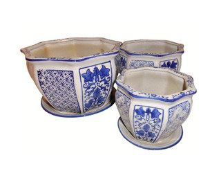 Set of Three Porcelain Garden Pots