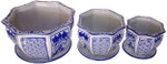 Set of 3 Blue and White Planters