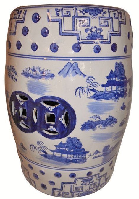 Garden Stool In Chinese Porcelain In Blue And White For