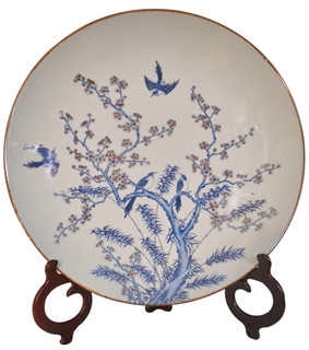 Blue and White Oriental Porcelain Plate