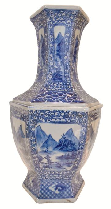 Vase In Asian Blue And White Landcape Glazed Hexagonal