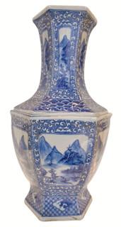 "22""H Asian Blue and White landscape vase"