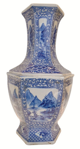 "22""H Asian Blue and White landscape vase"