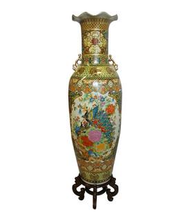 "48"" H Satsuma Temple Vase"