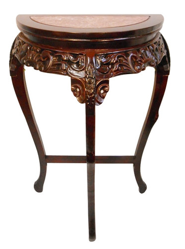Hall Table In Asian Half Moon Style In Mahogany With Marble Top Oriental Furnishings