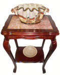 Marble top mahogany end table