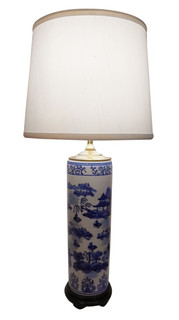 Blue and White Oriental Paint Brush Lamp