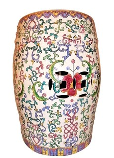 "18"" H Asian Porcelain Garden Stool Hand Painted Floral Vines"