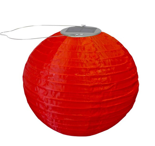 "10"" Round Nylon Paper Lantern in Red"