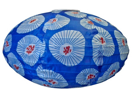 "14"" Oval Nylon Paper Lantern in Blue & White"