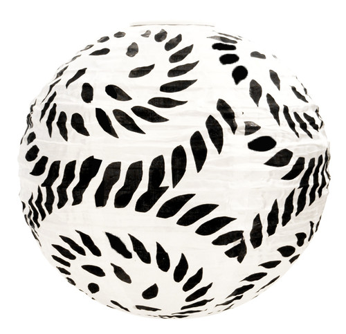 "12"" Black & White Nylon Paper Lantern"