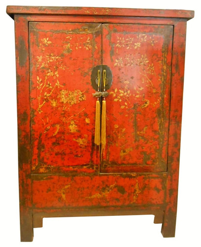 Chinese Wedding Chest Antique Red Lacquer With Gold